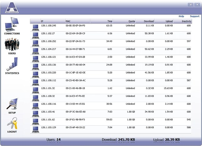 Bandwidth Manager Software Screen shot