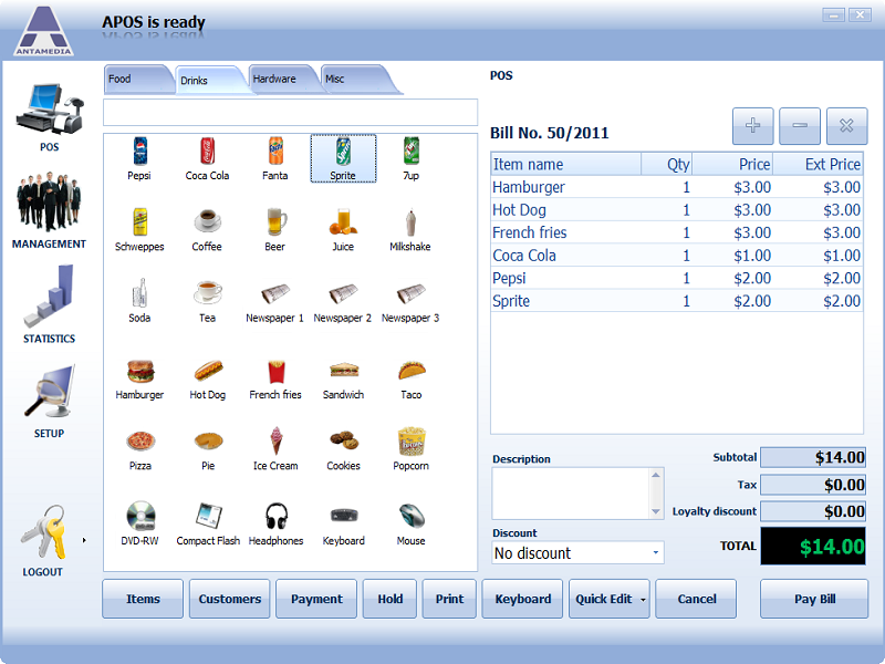 Point Of Sale Software Screen shot