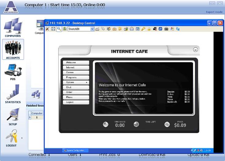 Internet Cafe Desktop Menu