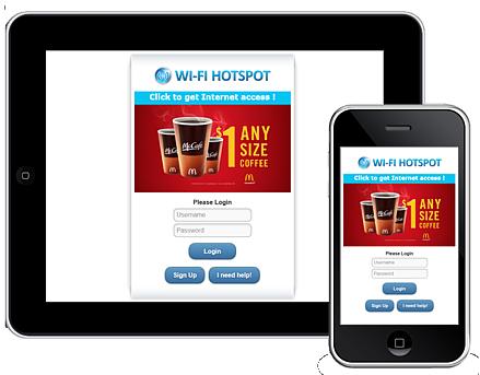 Publicités avec HotSpot Wi-Fi