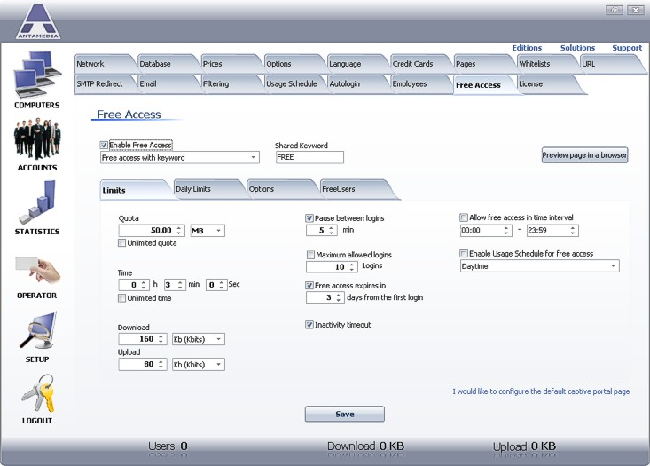 Antamedia HotSpot Software Screenshot