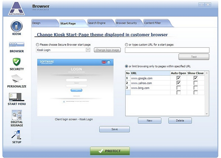 Antamedia Kiosk Software Screenshot