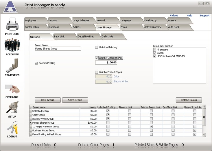 Antamedia Print Manager Software Screenshot
