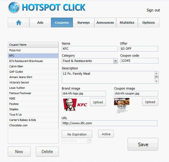 WiFI Ads HotSpot Click Coupons