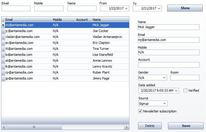 HotSpot Email User Data